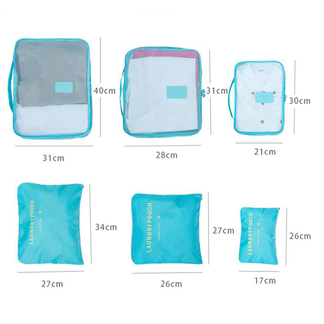 Waterproof Reusable Travel Bags Set, 6 Pcs