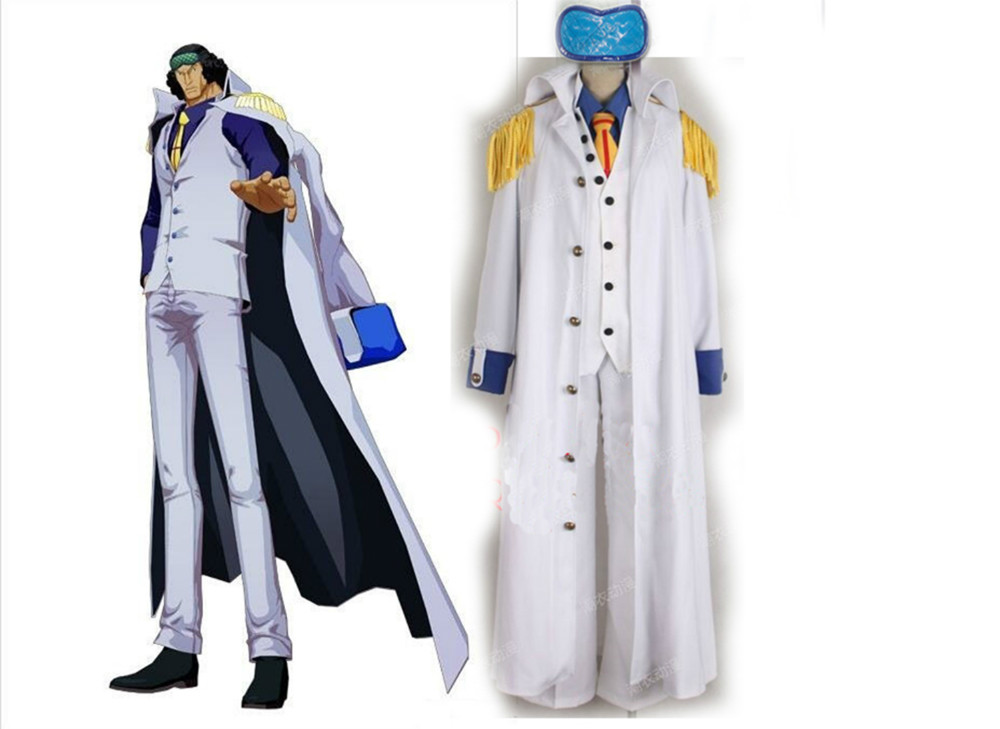 One Piece Kohza/Kuzan Cosplay Costume set top+pant+coat+vest+tie+goggles