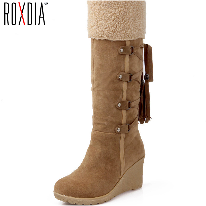 ROXDIA New Fashion Winter Snow Fringe Warm Women Boots Wedges High Heels Woman Shoes Plus Size 36-43 RXW031 fringe wedges thick heels bow knot casual shoes new arrival round toe fashion high heels boots 20170119
