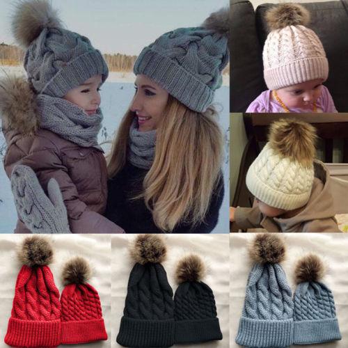 68b7004e0 Mommy Women Kids Girls Boys Baby Knit Pom Bobble Hat Winter Warm Beanie  Caps 2pcs