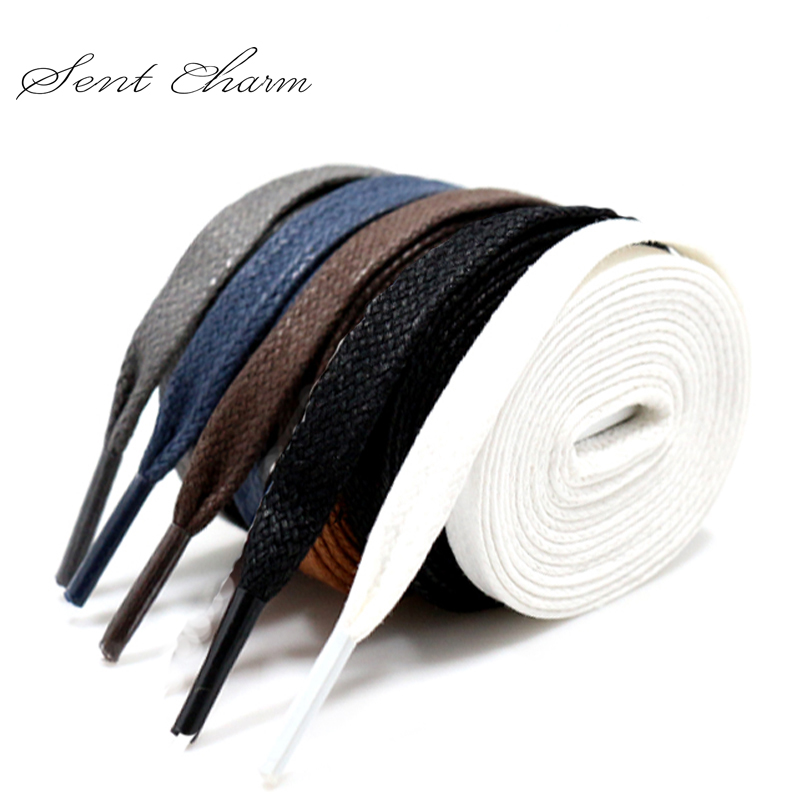 Premium SENTCHARM Flat Waxed Shoelaces Cotton Shoe Lace Width Shoestring Cord For Unisex Shoes Boots String As Gift