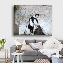 A Cleaning Maid by Banksy Wall Art Decor Canvas Poster and Print Painting Decorative Picture for Living Room Home