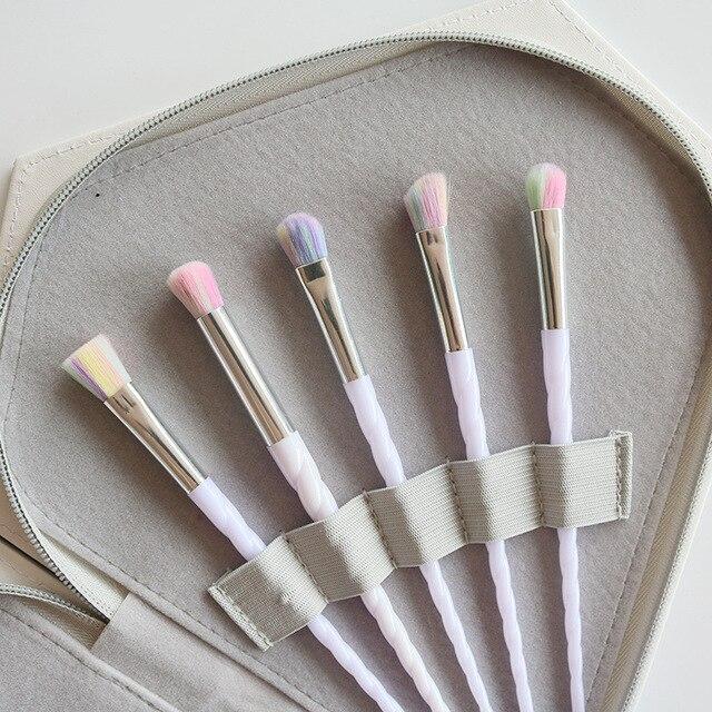 10pcs Thread White Handle Colorful Hair Makeup Brush Diamond Bag Face Eyeshadow Powder Foundation Eyebrow Make Up Brush Kit Tool 2