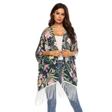 beach tunic printed blouse cardigan shirts loose kaftan cover up kimono tunic blusas mujer de moda 2019 цена и фото