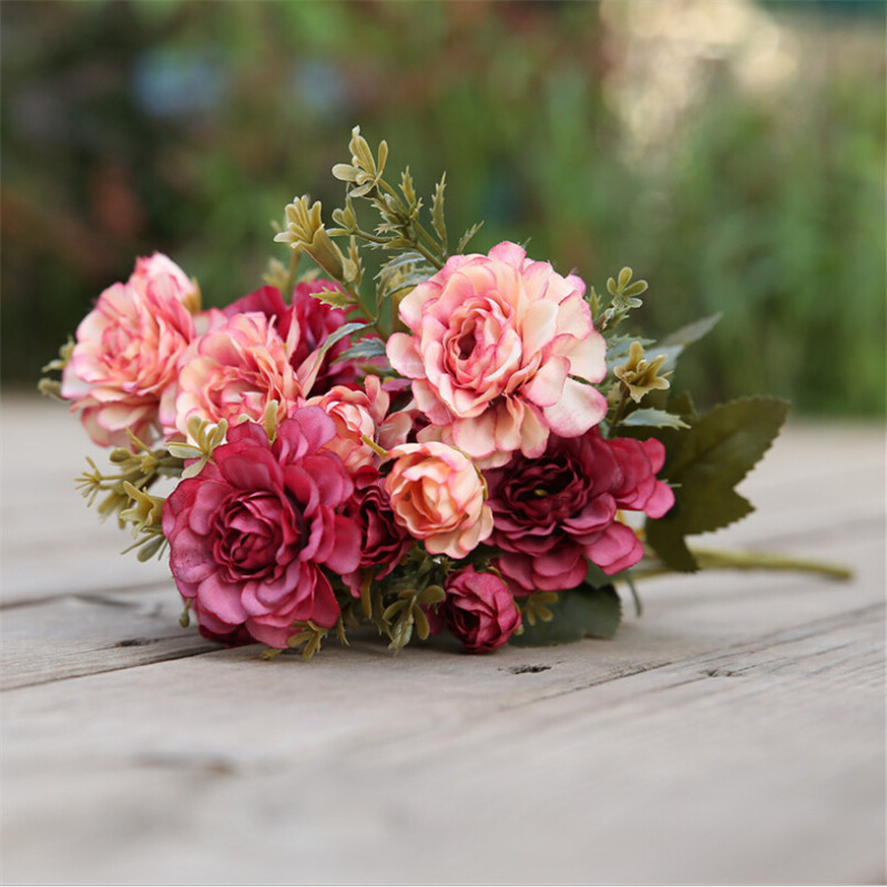 14 Heads Artificial Roses Fake Peony Silk Flowers Bouquet Bridal Hydrangea Floral Home Supplies Wedding Decoration Garden Decor
