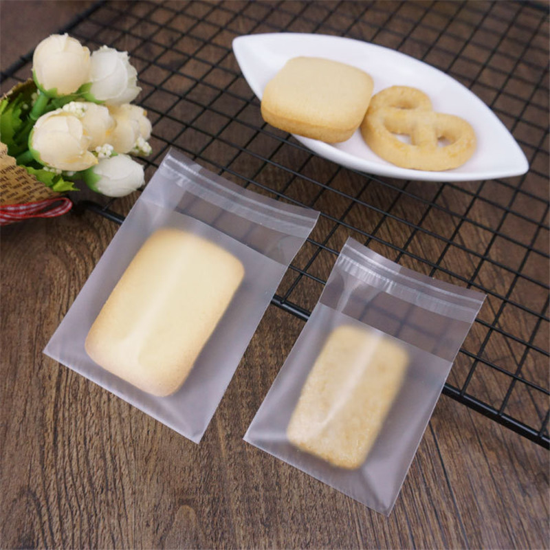 100PCS Transparent Frosted Cookie Candy Bag Wedding Party Supplies Gift Bag Biscuits Snack Baking Self-Adhesive Package Bag
