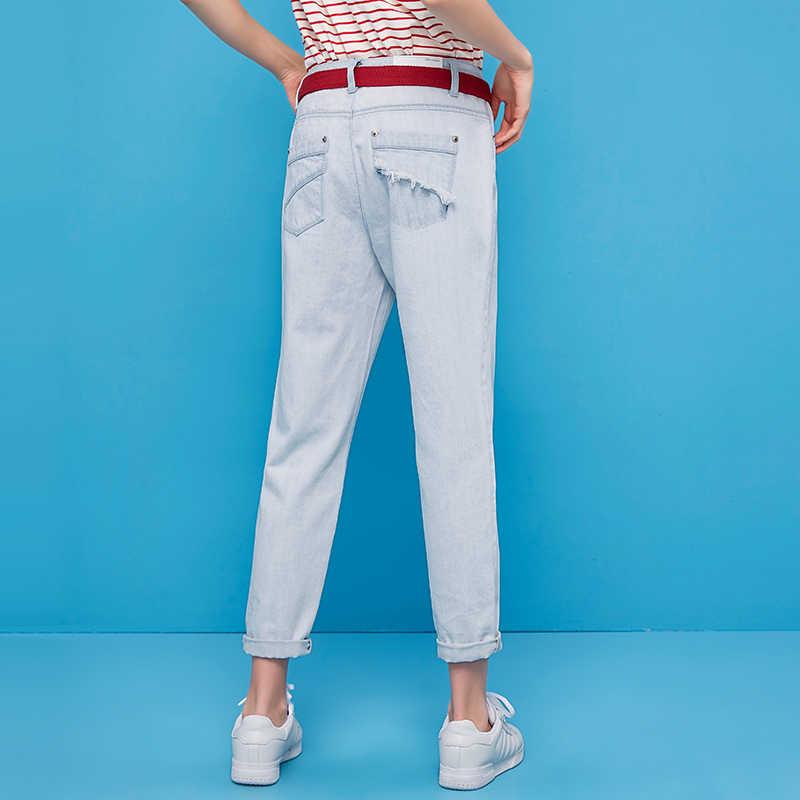 Toyouth Лето ulzzang Голубой промывают джинсы классические свободные джинсовые штаны