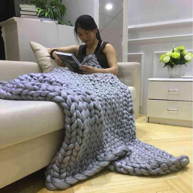 Le plus récent Crochet Lit/Canapé Couverture Mélange Anti-boulochage Main Chunky Tricoté Super Doux Couverture D'hiver Chaud Maison housse de Canapé