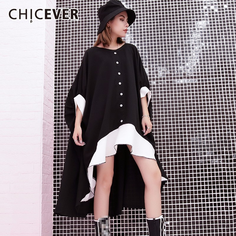 CHICEVER Ruffles Black Dress For Women Batwing Sleeve Hit Colors O neck Loose Big Size Dresses Female Clothes Fashion Casual New