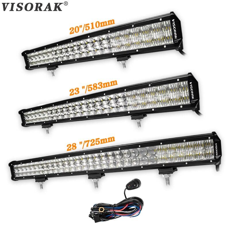 VISORAK 5D 20 23 28 inch OffRoad LED Bar 210W 240W 300W LED Work Light Bar For Volkswagen 4WD 4x4 Car Truck ATV Combo Light SUV