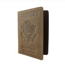 American Emblem RFID Blocking Genuine Leather Passport Case Cover Holder Travel Wallet S595 Genuine Crazy Horse Leather for Men