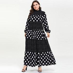 Image 1 - Kobiety Ruffles stanąć szyi kropki Maxi długie sukienki Vestidos z długim rękawem w paski łatka muzułmańskie Abaya strój islamski m 4xl