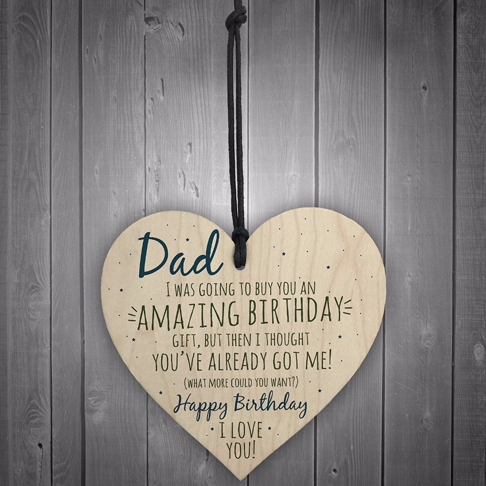 Meijiafei Amazing Happy Birthday Wooden Heart Dad Daddy Father Funny Card Baby Son Daughter Love Gift In Plaques Signs From Home Garden On