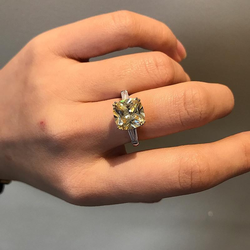 2 Carat 18K White Gold Princess Cut Meaningful Certified Dark Yellow Moissanite Engagement Ring For Woman Popular Design Ring