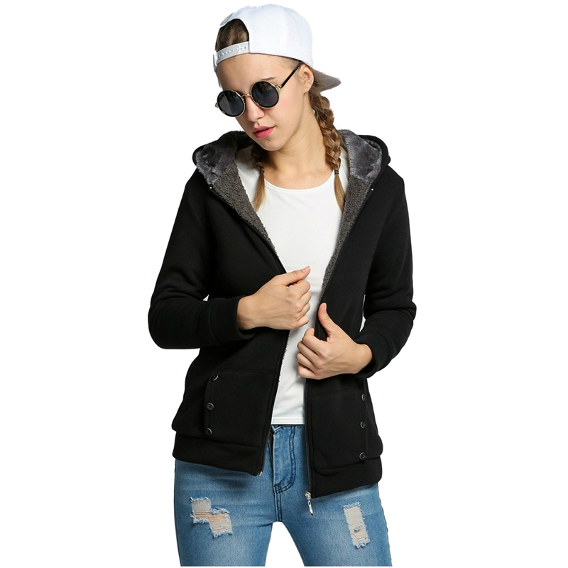 Hot Womens Hoodies Warm Fleece Cotton Coat Zipper Outerwear Sweatshirts