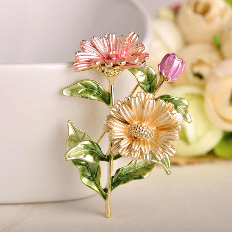 Blucome สีชมพู Chrysanthemum ดอกไม้เข็มกลัดเข็มกลัดเคลือบสีทอง Corsages PIN PARTY ชุดคลิปเครื่องประดับเครื่องประดับ