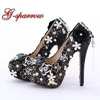 Дамские туфли на высоком каблуке черная свадебная обувь с жемчугом выходные туфли лодочки со стразами и круглым носком для банкетов туфли с