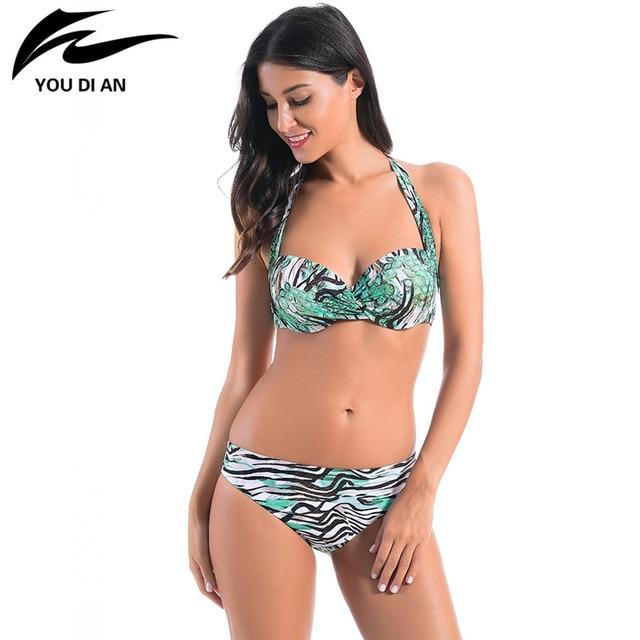 0fdd673c3bdf8 New Bikini 2018 Sexy Floral Swimsuit Push Up Bikinis Swimwear Women  Beachwear Bathing Suit Brazilian Swimming Suit