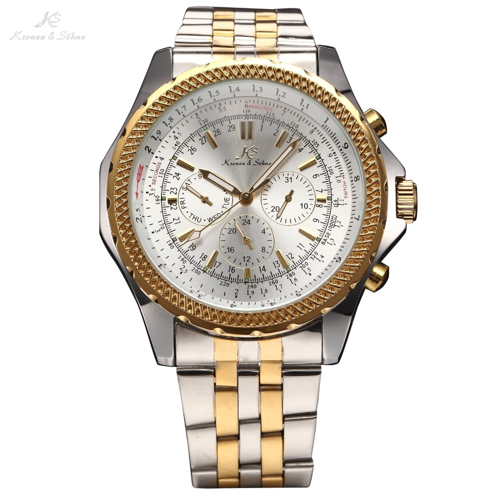 цена на Ks Royal Carving Male Clock Men Full Steel Watch Calendar 24 Hours Automatic Mechanical Mens Wrist Fashion Luxury Watch / KS143