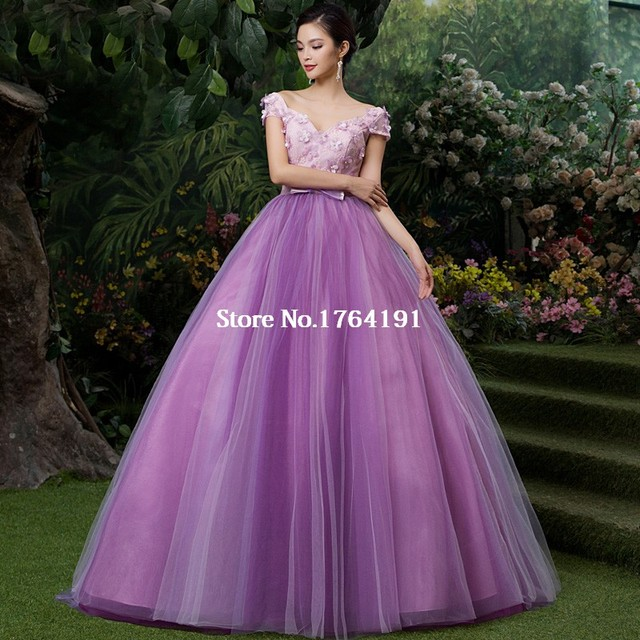 Customized Royal Purple Lace Appliques Ball Gown V Neck Floor Length ...