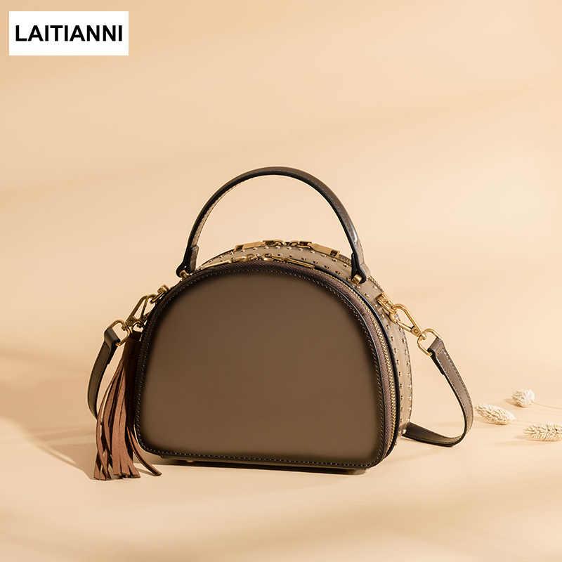 13012c8f6dff0 Shell Baobao Women Messenger Bags 2018 Original Leather Rivet Lady Purse Top  Sell Quality Brand Fashion
