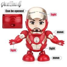 Dance Iron Man Action Figure Toy LED Flashlight with Sound Avengers Iron Man Hero Electronic Toy цена 2017