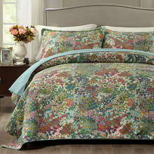 Quality Flower Printed Quilt Set 3PC Quilted bedding Quality Cotton Quilts Bed Covers Bedspread King Queen Size Coverlet Blanket все цены