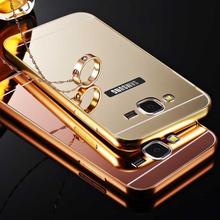 Metal Case For Samsung Galaxy A3 A5 2017 A7 J1 J3 J5 2016 J7 Grand Prime S3 S4 S5 Mini S6 S7 Plating Aluminum Frame+Mirror case
