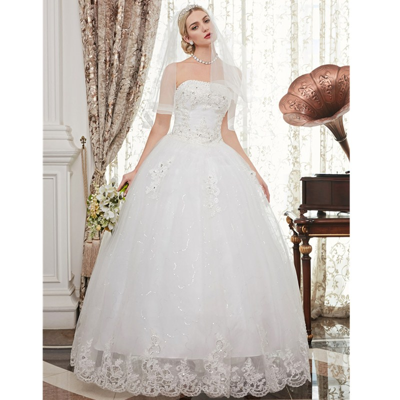 LAN TING BRIDE Ball Gown Strapless Floor Length Beaded Lace Custom Wedding Dresses with Beading Appliques