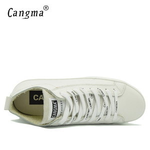 Image 5 - Cangma 이탈리아 디자이너 여성 캐주얼 신발 여성용 화이트 스니커즈 정품 가죽 신발 mid women footwear 여성 트레이너