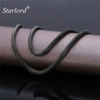 Black Mesh Chain Choker Necklace Cool Men S Jewelry 5MM 55CM 66M Black Gun Plated Stainless