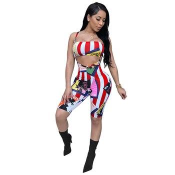 cc2f0b35e 2018 mujeres dos piezas chándal imprimir Tops + Shorts traje a juego raya  del verano trajes Sexy 2 unidades Set sudaderas ropa