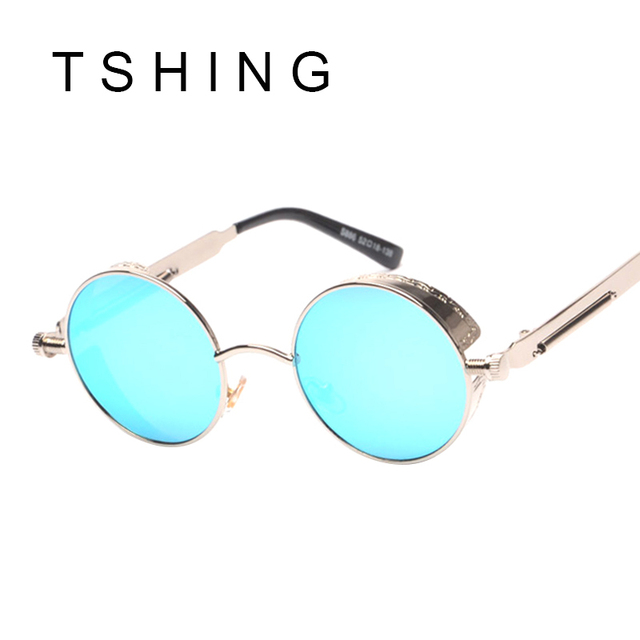Gothic Steampunk Men Sunglasses Coating Mirrored Sunglasses Round Circle Sun glasses Women Retro Vintage Punk Oculos Masculino