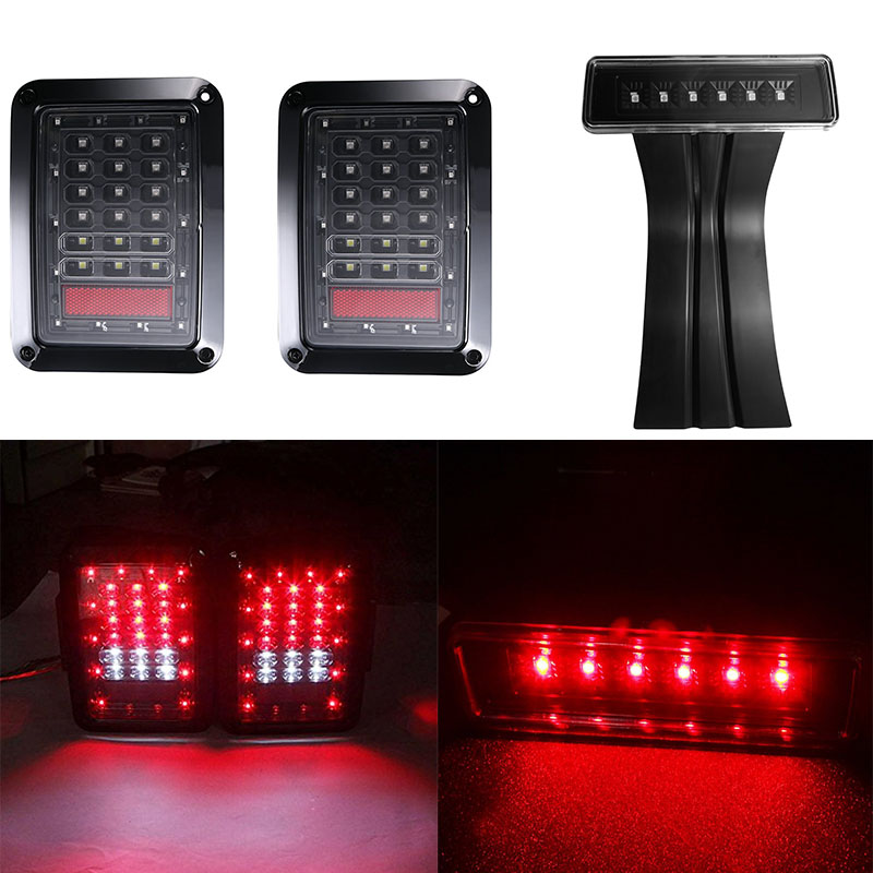 For Jeep Wrangler JK LED Tail light Brake Reverse Rear Turn signal Lamp and Smoke led Rear Taillights 3rd Third Brake Light for jeep wrangler jk 2007 2016 tail light diamond smoke led tail light