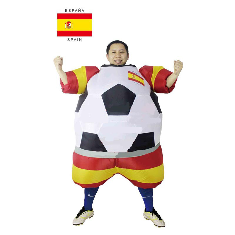 Spain inflatable foot ball costume 2014 New Styles soccer Espana national team, Spanish fans of foot ball deguisement adultes