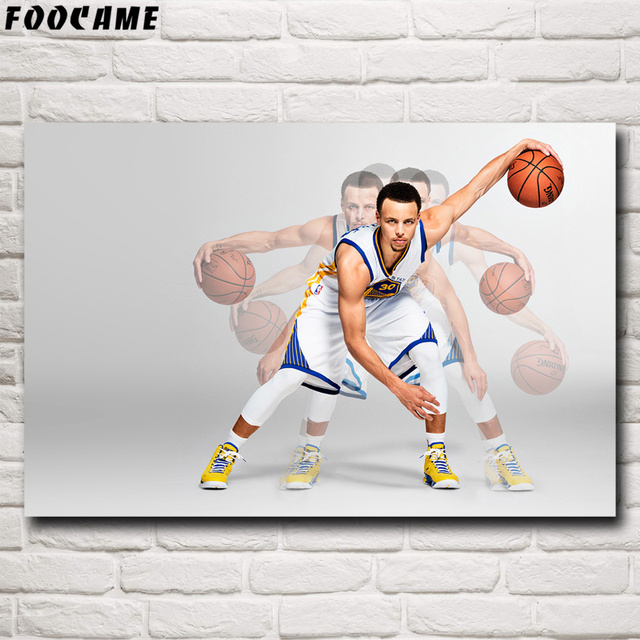 FOOCAME Stephen Curry Basketball Star Art Silk Posters and Print Decor Painting Bedroom Decorative Wall Pictures For Living Room