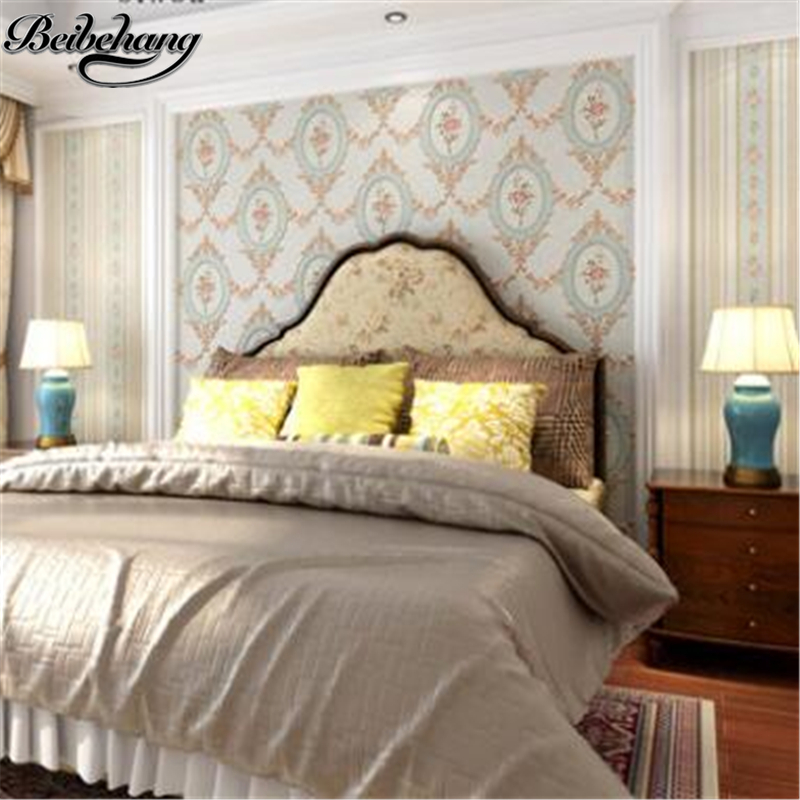 beibehang Vintage Wallpapers American Pastoral Flower Striped Wallpapers Bedroom Living Room TV Wallpaper papel de parede tapety pastoral large flower wallpapers 3d stereoscopic non woven embossed wallpaper for living room bedroom home decor papel de parede