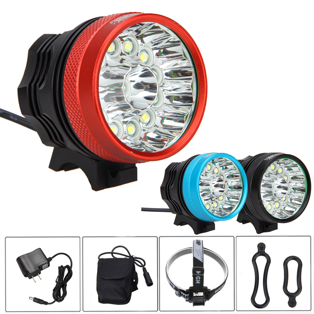 45000LM Bike Light Set 13x XML T6 Led Bicycle Head Light Cycling Bike Headlight Torch Lamp +6x18650 Battery +Headband hot sale 3x cree xml t6 led headlamp bike light 5000 lumen 18650 led head light 4x18650 battery pack charger bike rear light