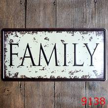 15×30 cm  vintage license plates FAMILY  SIGNS retro iron painting  wall sticker number plate metal craft DECOR