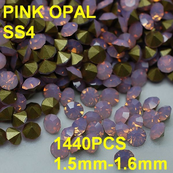 SS4 1440pcs/lot 1.5mm-1.6mm New Arrival Pink Crystal Opal Rhinestone Golden Pointback for Wedding Decoration 3D Rhinestones