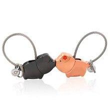 LLavero de beso de cerdos para parejas, regalo de Navidad para enamorados, llavero con llavero de llavero para mujer, colgante de recuerdo a la moda k0176