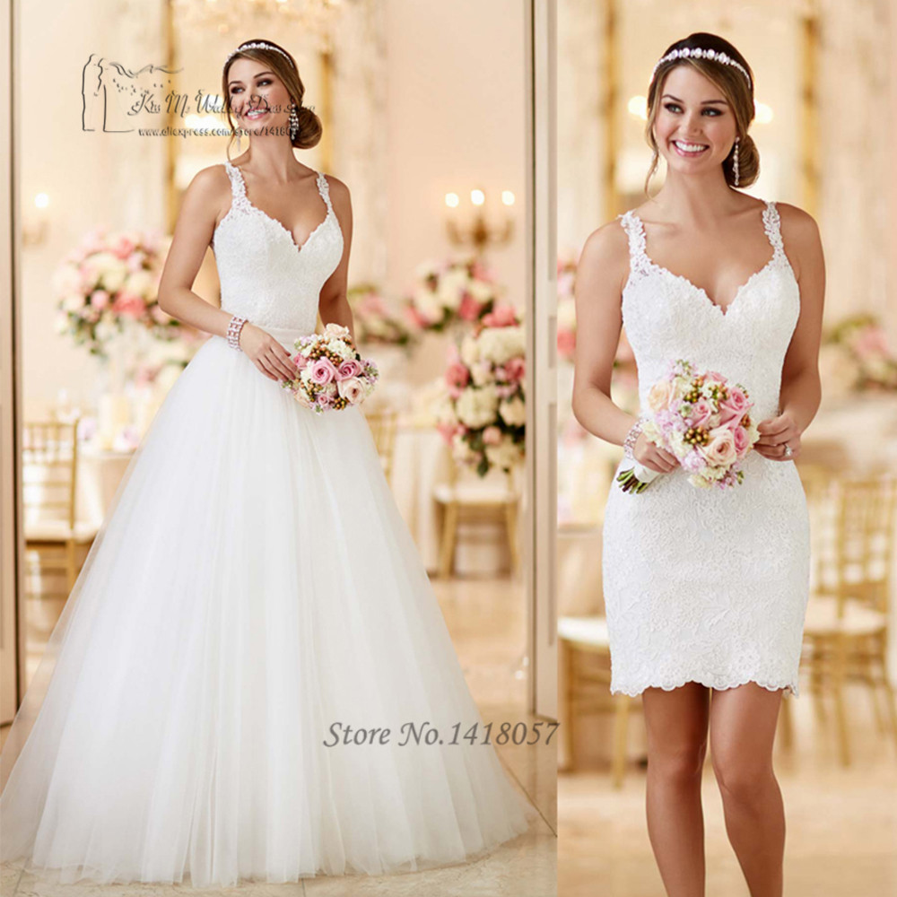 Korean Detachable Skirt Wedding Dress Short Bohemian Bride Dresses 2017 Vestido De Noiva Princesa Lace Wedding Gowns Ball Gown