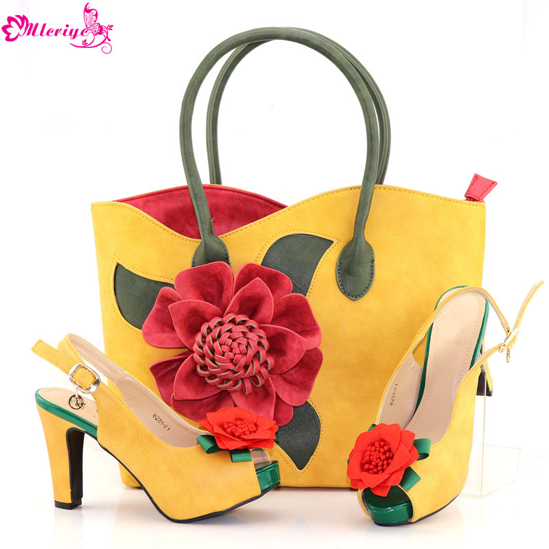 New African Shoe and Bag Set Decorated with Rhinestone Nigerian Women Wedding Shoes and Bag Set Women Shoes and Bag Set In Italy rhinestone decorated shoulder bag