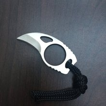 "Custom Handmade Combat Tactical Claw Karambit Ring 3"" Knife Card knife credit card knife+Leather Sheath"