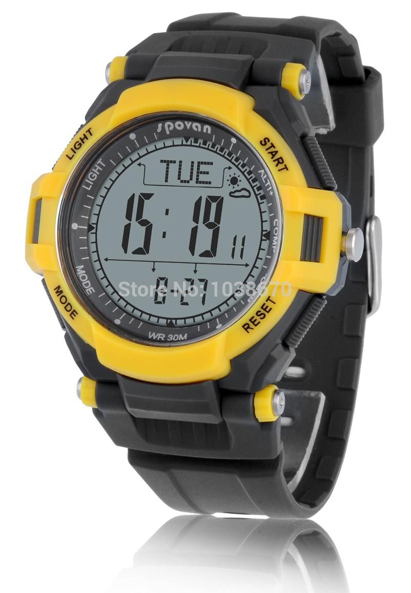 2017 Spovan Yellow Army Multifunction Digital Sports Compass Watch /Barometer Pacer Altimeter Weather Monitor Cycling Wristwatch  цены