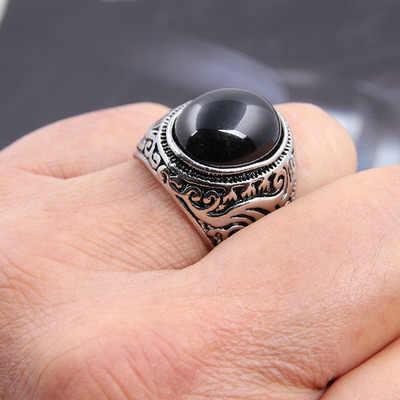 สีสัน Bling ใหญ่สีดำสีแดงอัญมณีธรรมชาติหินแหวนแหวนผู้หญิงแหวนผู้หญิงแหวนผู้ชายเครื่องประดับ bijoux