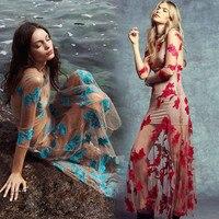 For Love Lemons Runway Long Dress for Women New Three Quarter Flower Embroidered Nude Mesh Beach Long Maxi Dress Vestidos