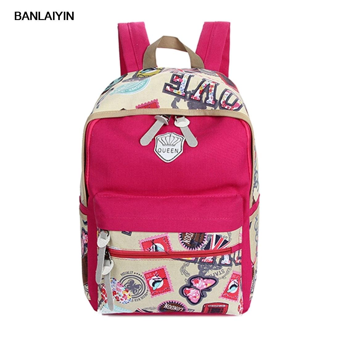 Fashion Women Canvas Travel Satchel Shoulder Bag Backpack School Rucksack
