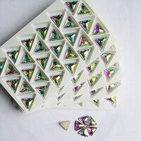 높은 품질 triangl 전자 크리스탈 돌 크리스탈 ab 바느질에 라인 스톤 아플리케 diy 웨딩 드레