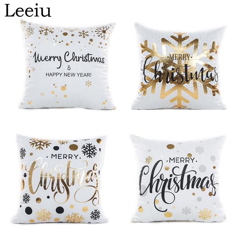 Leeiu 45*45cm Soft Fabric Gold Printed Merry Christmas ...